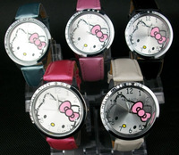Min order $10 mix order Fashion women's watch lovely cute kitty Cat  Wrist watches Free shipping
