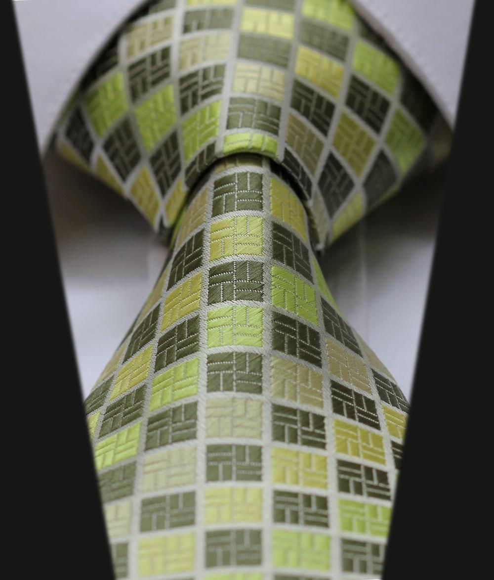 "TC3011G8 Green Check New 3.4"" 100% Silk Jacquard Woven Classic Man's Tie Necktie(China (Mainland))"