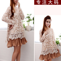 Fat lady spring summer new arrival 2013 loose long-sleeve lace chiffon one-piece dress