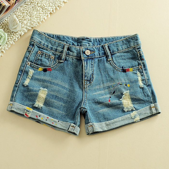 Promotional price for Summer women&#39;s all-match denim shorts hole hot trousers(China (Mainland))