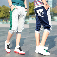 2013 preppy style popular ! three-dimensional print color block sports knee length trousers casual pants  men's WP20