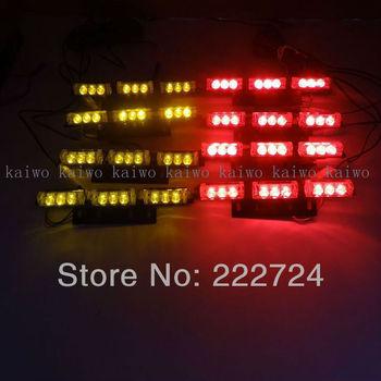 8*9 72 LED Red&Amber Warning Blinking Strobe Flash Light/Lightbar Deck Dash Grille LED EMERGENCY STROBE LIGHTS 3 Mode 12V