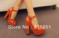 2013 Dro shipping single super beautiful women cross-strap thick heel sandals CN183