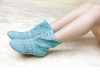 2013 cutout knitted boots princess boots summer boots single shoes multicolor