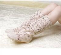 Soft outsole rubber sole knitted boots summer  women's cutout boots single shoes net boots sandals high-leg