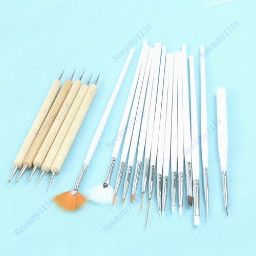Free Shipping 20pcs Nail Art Design Painting Dotting Pen Brushes Tool Kit Set Beauty Salon(China (Mainland))