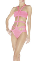 Free Shipping Region Bandage HL Swimsuit Paris Beachwear Swimwear Bikini Pink& Black HL508
