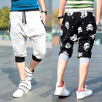 Free shipping 2013 preppy style ! fashion skull print color block fashion harem pants sports pants WP28