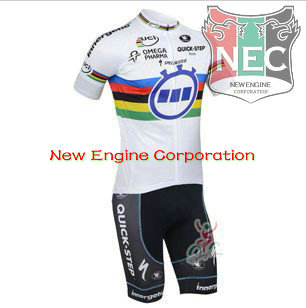 Men's Short Sleeve Cycling bIB Suit 2013 QUICK STEP TEAM UCI Jersey + Shorts with coolmax functional pad MIX ORDER(China (Mainland))