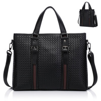 Optional Horizontal / Vertical Size Woven Pattern Buffalo Hide Leather Business Bag For Men / 2013 Men's Bag With Straps (BN009)