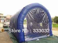 Promotion 2013 new high quality 6*4*3M Inflatable bubble tent clear door blue durable Arc tent Oxford with clear PVC