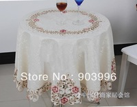 Fress Shippng-6730(round:150cm)pastoral hollow out tea table cloth embroidered Square table cloth The universal cover towel