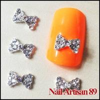 20psc/lot 8x5MM 3D Bow Tie Nail Art Clear Crystal Rhinestone Bows Craft Alloy Nail Art Decoration DIY Nail Beauty Products #B81