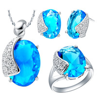 Newest luxury brilliant blue crystal pendant 18k platinum plated necklace.ring.earring charming jewelry set with free shipping