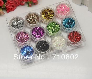 12 Color Nail Art Shiny Sparkle Glitter Powder Dust Tips Manicure DIY Decoration