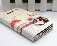 2014 New Arrivel!Flip Sweet Diary Fashion Synthetic Leather Case Cover Skin for iPhone 4 4G 4S,Free Shipping