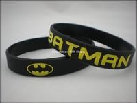 Printed Batman logo Wristband, Silicon Bracelet, Custom design wristband, 100pcs/lot, free shipping