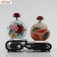 Pot snuff bottle painting set peony rich fish please ask more pattern gift box with two without base handmade