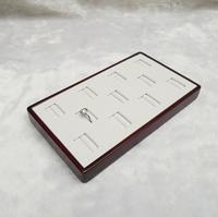 FREE SHIPPING 11 Slots White PU Wood Ring Box Wooden Jewellery Display Tray Jewelry Storage Box