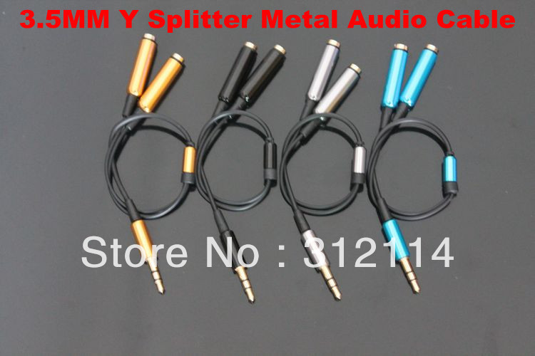 3.5MM Extension Earphone Headphone Audio Splitter Cable Adapter Male to 2 Female 4 Colors(China (Mainland))