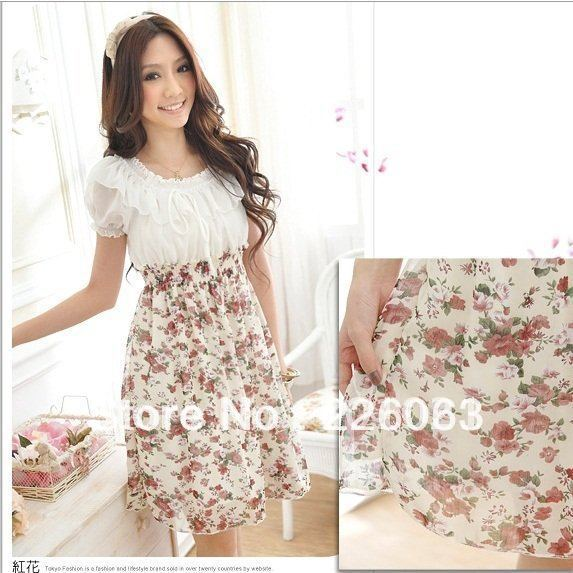 Free shipppping Ladies Dress Women Dresses Floral Chiffon Dress Red Purple flower #8078(China (Mainland))
