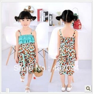 fashion Summer shivering Children clothing sets girls suits &quot;gallus+short&quot; boob tube top Harem Pants suit free ship 621032(China (Mainland))
