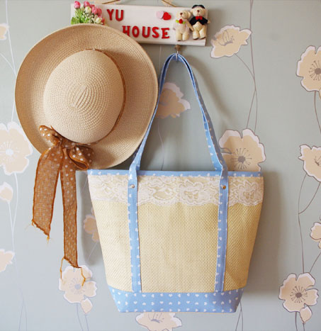 Product straw bag straw bag 2013 lace small polka dot folding beach bag knitted(China (Mainland))