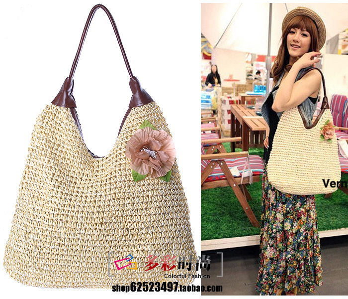 2012 spring and summer new arrival women's handbag hooks paper rope one flower shoulder straw bag 5(China (Mainland))