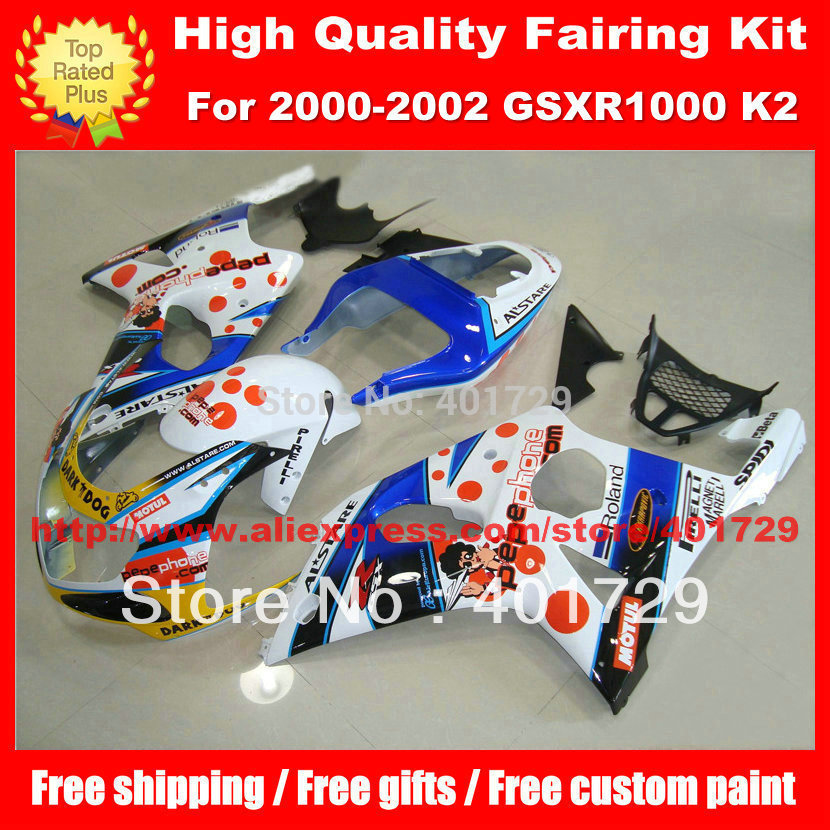 Mix color motorcycle bodywork for SUZUKI GSX- R1000 2000 2001 2002 GSXR1000 00 01 02 K2 high grade bodywork set(China (Mainland))