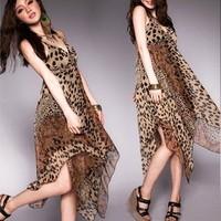 2014 New Beach irregular sweep angering leopard print racerback halter-neck chiffon high waist over-the-knee full dress