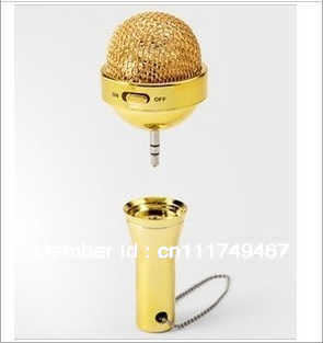 gold/silvery amplifier microphone speaker ,gift speaker used for computer(China (Mainland))