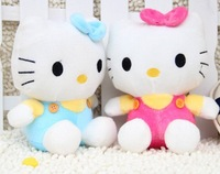Hot selling.Candy overalls Hello kitty plush toy (18cm) 2 colors .wholesale