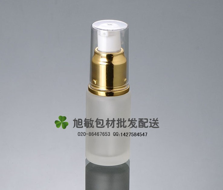 Capacity 20ml free shipping 200pcs/lot factory wholesale glass bottle pump lotion bottle with gold color(China (Mainland))