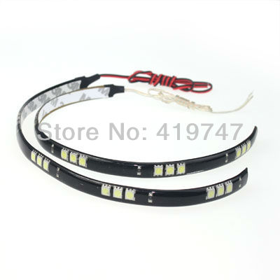 Free shipping 50pcs/lot High brightness 30CM 15 LED 5050 SMD car waterproof strips flexible LED strip(China (Mainland))