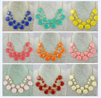 2013 summer sell like hot cakes jewelry wholesale candy color double necklace 12pcs/lotfree shipping