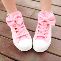 New arrival 2013 spring fashion canvas shoes casual women's sweet bow flat spring shoes high heel
