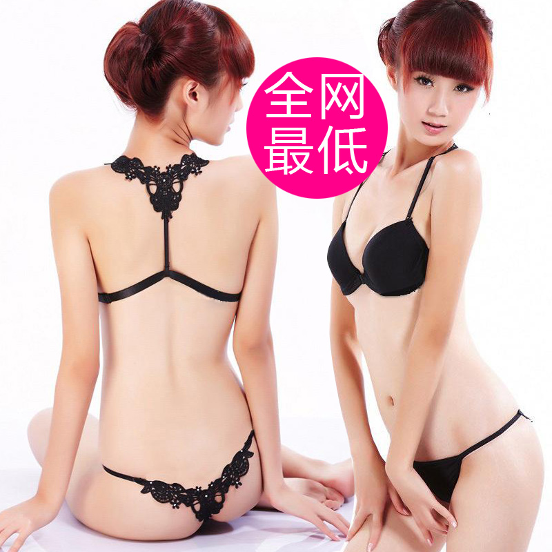 2013 new arrivals free shipping sexy halter-neck push up front button young girl underwear bra thong set(China (Mainland))