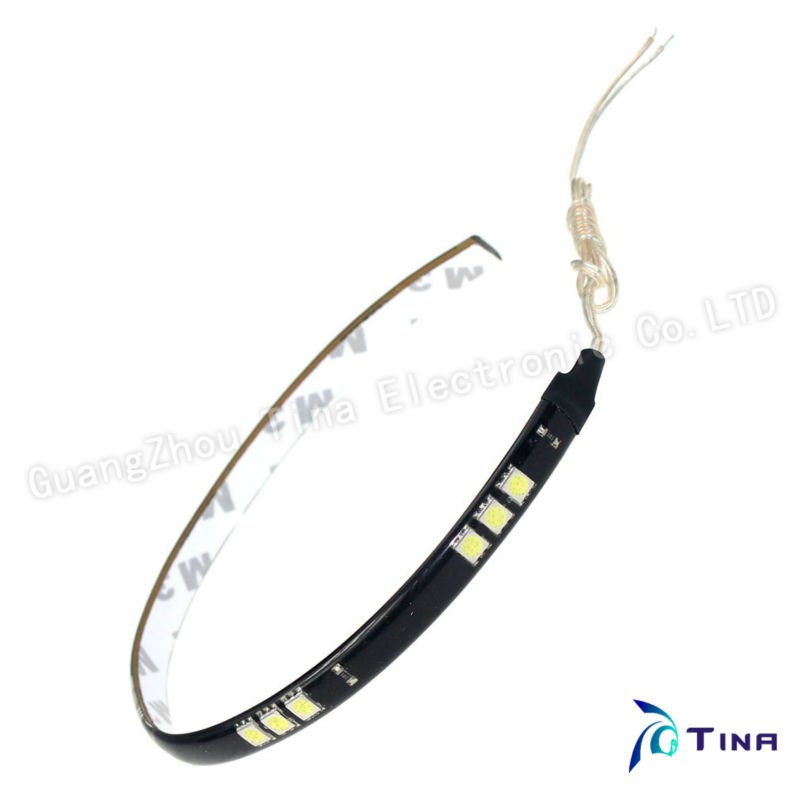 EMS/DHL Wholesale 500pcs/lot High brightness 30CM 15 LED 5050 White Color SMD car waterproof flexible LED strip White/Red Color(China (Mainland))