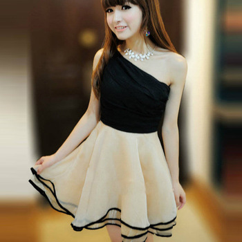 2013 New Summer Korean Women's Sloping Shoulder Western Style Party  Dress # L034885