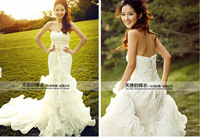 Free Shipping Ready to Ship White Mermaid Wedding Dress custom size&color
