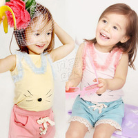 2013 summer mouse rabbit girls clothing baby child vest shorts set tz-0596