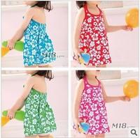 Free shipping 2013 new summer children kids beach dress floral flounce cotton girls casual dress 6 pcs/ lot