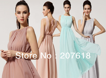 Summer 2013 Sexy Halter Neck Chiffon Long Dress Plus Size Side Slit Backless Bohemian Maxi Beach Dress