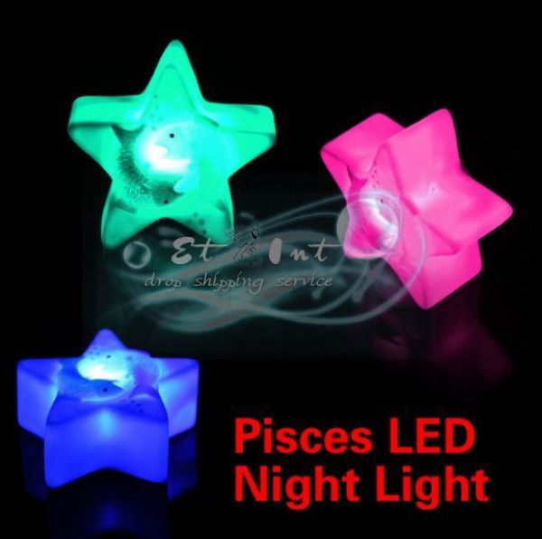 DHL shipping Wholesale Changing Colors Colorful Pisces Night Sleep Light Magic Energy LED Novelty Lamp(China (Mainland))