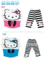 The new summer 2013 hello Kitty cute cartoon cotton suit  free shipping