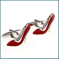 2013 Men's Fashion Jewelry Shoes Design Cufflinks in Red Color