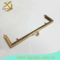 21*6.5cm golden metal frame for purse and handbag with flower shape kiss lock