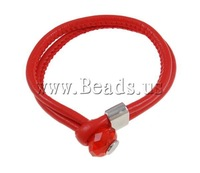 2013 New Arrival Fashipn Red Leather Cord Cuff Bracelet With Platinum Color Zinc Alloy Tip & Crystal Bead Free Shipping
