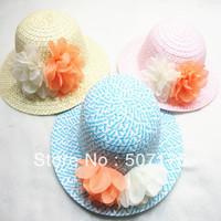 Free shipping wholesale Children flower hat baby girls summer hat baby Sun hat Straw hat cap with big flower cap 3pcs/lot