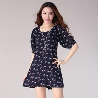 [Drop Shipping] Half sleeve knee length dresses,plus size clothing one-piece elegant dress the summer women's dresses        R